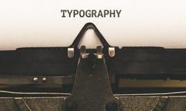Typographie, écrite dans la machine à écrire de vintage photographie stock libre de droits