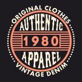Typographie authentique d'habillement Graphiques de denim de vintage pour le T-shirt Copie originale de conception de vêtements V illustration stock