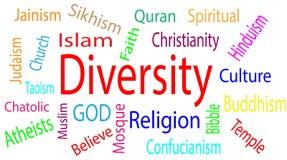 Typographie colorée de diversité de religion illustration de vecteur