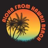 typographie d'Hawaï de vintage du style 80s Rétros graphiques de T-shirt avec les paumes tropicales de scène et de tropique de pa illustration libre de droits