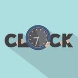 Typographie d'horloge avec la conception de symbole de mains Photo libre de droits