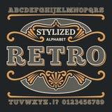 Typographie 3d occidentale de vintage Rétro type gothique de vecteur Rétros nombres et lettres illustration stock
