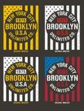 Typographie de Brooklyn de drapeau de vintage, Illustration Stock