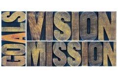 Typographie de buts, de vision et de mission images stock
