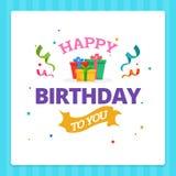 Typographie de carte de joyeux anniversaire avec l'ornement de décoration de partie illustration libre de droits