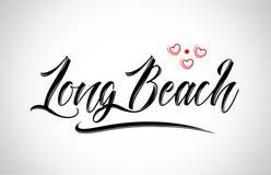 typographie de conception de ville de Long Beach avec le logo rouge d'icône de coeur illustration libre de droits