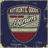 Typographie de denim de vintage, graphiques grunges de T-shirt illustration libre de droits