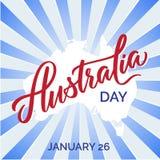 Typographie de jour de l'Australie, lettrage Vecteur des textes de brosse d'art de Word illustration libre de droits