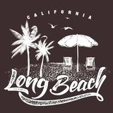 Typographie de la Californie Long Beach pour la copie de T-shirt, illustration de vecteur illustration stock