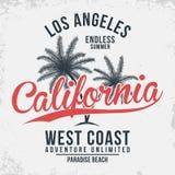 Typographie de la Californie, Los Angeles Graphiques de T-shirt avec les paumes tropicales illustration de vecteur