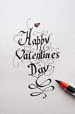 Typographie de lettrage de main de Valentine Day Photographie stock