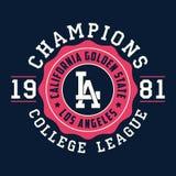 Typographie de Los Angeles, la Californie pour des vêtements de conception Graphiques pour le produit d'impression, T-shirt, habi Photographie stock