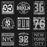 Typographie de New York, Brooklyn Ensemble de copie sportive pour la conception de T-shirt Graphiques pour l'habillement de sport Image stock