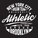 Typographie de New York, Brooklyn pour la copie de T-shirt Sports, graphiques sportifs de T-shirt illustration stock