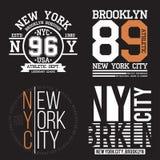 Typographie de New York, Brooklyn pour la copie de T-shirt Sports, graphiques sportifs de T-shirt réglés Collection d'insigne illustration libre de droits