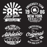 Typographie de New York, Brooklyn pour la copie de T-shirt Sports, graphiques sportifs de T-shirt réglés Collection d'insigne illustration de vecteur