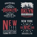 Typographie de New York, Brooklyn pour la copie de T-shirt Ensemble d'insigne de vintage pour la copie de T-shirt illustration de vecteur