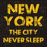 Typographie de New York City de vintage pour le T-shirt, emblème, Image stock