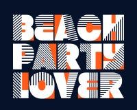 Typographie de T-shirt d'amant de partie de plage, vecteur Photographie stock libre de droits