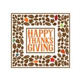 Typographie de thanksgiving Texte admirablement décoré de vacances avec des éléments d'automne illustration stock