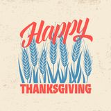 Typographie de thanksgiving Texte admirablement décoré de vacances avec des éléments d'automne illustration de vecteur