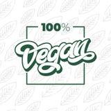 Typographie de 100 VEGAN avec le cadre carré Lettrage manuscrit pour le restaurant, menu de café Dirigez les éléments pour des la illustration stock