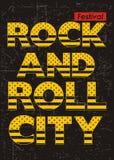 Typographie de ville de rock de vintage pour l'affiche, Illustration Stock