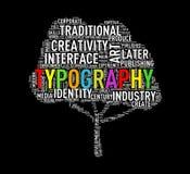 Typographie de wordcloud de forme d'arbre Photo stock