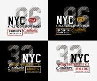 Typographie du sport sportif NYC Brooklyn pour la copie de T-shirt Photos stock