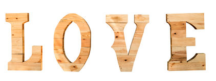 Typographie en bois de l'amour Photo stock