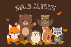 Typographie heureuse d'automne et caractère mignon d'animal illustration stock