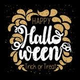Typographie heureuse de Halloween dans l'or et le noir illustration stock