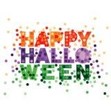 Typographie heureuse de Halloween dans le style plat pourpre et vert orange de vecteur de scintillement illustration libre de droits