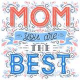 Typographie heureuse de jour de mères Photographie stock