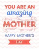 Typographie heureuse de jour de mères Image libre de droits