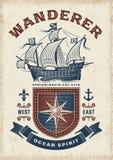 Typographie nautique de vagabond de cru illustration stock