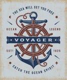 Typographie nautique de Voyager de vintage illustration libre de droits