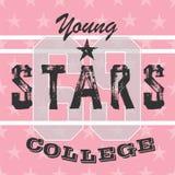 Typographie sportive de T-shirt de filles d'université, graphique Image libre de droits
