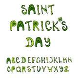 Typographie tirée par la main de lettrage de jour du ` s de St Patrick pour la carte postale, carte, insecte, calibre de bannière Photo libre de droits