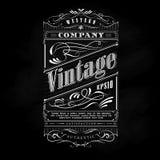 Typographie tirée par la main occidentale de tableau noir de label de cadre de vintage illustration stock