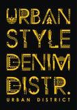 Typographie urbaine de secteur de denim de style Vecteur Illustration Libre de Droits