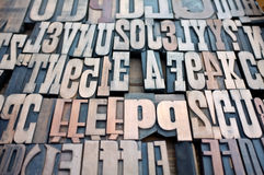 Typography. Old wooden typography letters and number for printing process Stock Photo