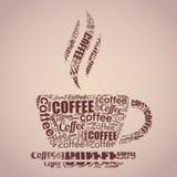 Typography кофейной чашки формулирует облако Стоковые Изображения RF