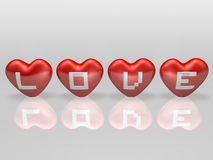 Typography on 3d four red heart Stock Photography