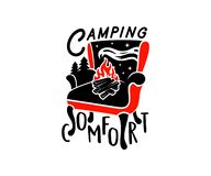 Typography, armchair, bonfire, forest and starry sky, logo design. Camping, comfort, rest, relaxation, repose and recreation, vect stock illustration