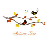 Typography banner Autumn time, black birds on branch with orange and yellow leaves, hearts. On white stock vector illustration Stock Images