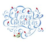 Typography banner blue lettering Merry Christmas, swirls, red bulfinch on white royalty free illustration