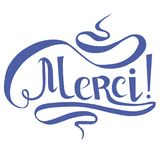 Typography banner blue Merci on white, means thanks in france language, swirls hand drawn lettering Royalty Free Stock Images