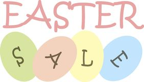 Typography banner Easter sale. Pink and gray letters on a green, yellow, pink, blue Easter eggs Stock Photo