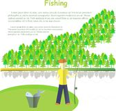 Typography banner Fishing, Lorem ipsum. Fishing with a fishing rod, a bucket of fish, river, forest on white Stock Images